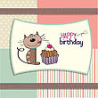 Birthday Greeting Card With A Cat Waiting To Eat A Big Cake