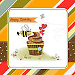 Birthday Greeting Card With Cupcake And Funny Bee stock illustration