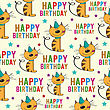 Birthday Seamless Pattern With Cats, Vector Format