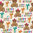 Birthday Seamless Pattern With Teddy Bear And Gifts, Vector Format