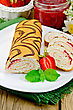 Biscuit Roulade With Cream And Jam, Jar Of Jam, Doily, Strawberries, Mint On The Background Of Wooden Boards stock image