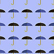 Black Blue Umbrella Seamless Pattern. Umbrellas Background