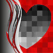 Black Heart On The Asymmetrical Red Background With Wavy Lines