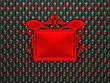 Black Leather Background With Red Stucco Moulding Frame For Caption. Large Resolution