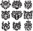 Black Medieval Heraldic Silhouettes, Executed In Woodcut Style, Isolated On White Background. No Blends, Gradients And Strokes stock vector
