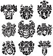 Black Medieval Heraldic Silhouettes, Executed In Woodcut Style, Isolated On White Background. No Blends, Gradients And Strokes stock illustration