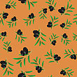 Black Olives Isolated On Orange Background. Seamless Pattern
