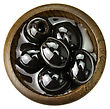Black Olives In A Wooden Bowl stock photography