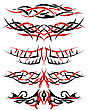 Black With Red Patterns Of Tribal Tattoo