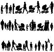 Black Set Of Silhouettes Of Parents And Children On White Background. Vector Illustration