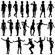Black Silhouettes Of Beautiful Girls In Stewardess Forage Caps On White Background. Vector Illustration