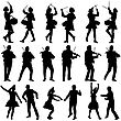 Black Silhouettes Of Beautiful Mans And Womans. Drummer, Violinist And Acrobat On White Background. Vector Illustration