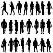 Black Silhouettes Of Beautiful Mans And Womans On White Background. Vector Illustration