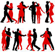 Exercise Black Silhouettes Dancing On White Background. Vector Illustration stock vector