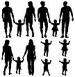 Black Silhouettes Gay, Lesbian Couples And Family With Children On White Background. Vector Illustration