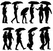 Black Silhouettes Man And Woman Under Umbrella. Vector Illustrations