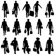 Black Silhouettes Mans And Womans With Bags And Packages On White Background. Vector Illustration