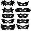 Black Silhouettes Masks Collection Isolated On White Background