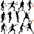 Black Silhouettes Of Men Playing Basketball On A White Background. Vector Illustration