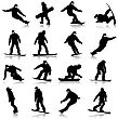 Black Silhouettes Set Snowboarders On White Background. Vector Illustration