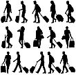 Black Silhouettes Travelers With Suitcases On White Background. Vector Illustration