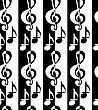 Black And White Alternating G Clef And Music Notes.Seamless Stylish Geometric Background. Modern Abstract Pattern. Flat Monochrome Design