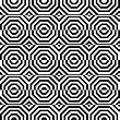 Black And White Alternating Octagons With Horizontal Cut.Seamless Stylish Geometric Background. Modern Abstract Pattern. Flat Monochrome Design