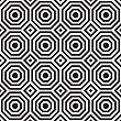 Black And White Alternating Octagons With Squares.Seamless Stylish Geometric Background. Modern Abstract Pattern. Flat Monochrome Design