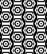 Black And White Alternating Rectangles Cut Through Hexagons Vertical.Seamless Stylish Geometric Background. Modern Abstract Pattern. Flat Monochrome Design