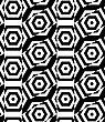 Black And White Alternating Rectangles Cut Through Hexagons Crossing.Seamless Stylish Geometric Background. Modern Abstract Pattern. Flat Monochrome Design