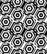 Black And White Alternating Squares Cut Through Hexagons.Seamless Stylish Geometric Background. Modern Abstract Pattern. Flat Monochrome Design