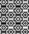 Black And White Alternating Squares Cut Through Hexagons Vertical.Seamless Stylish Geometric Background. Modern Abstract Pattern. Flat Monochrome Design