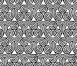 Black And White Overlapping Hearts.Seamless Stylish Geometric Background. Modern Abstract Pattern. Flat Monochrome Design
