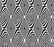 Black And White Rounded Diamond And Twisted .Seamless Stylish Geometric Background. Modern Abstract Pattern. Flat Monochrome Design