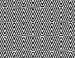 Black And White Striped Diamonds Split And Rounded.Seamless Stylish Geometric Background. Modern Abstract Pattern. Flat Monochrome Design