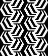 Black And White Striped Rotated Hexagons.Seamless Stylish Geometric Background. Modern Abstract Pattern. Flat Monochrome Design