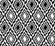 Black And White Wavy Diamonds.Seamless Stylish Geometric Background. Modern Abstract Pattern. Flat Monochrome Design