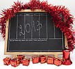 Christmas Blackboard With 2013 New Year Number And Red Decoration stock photo