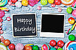 Vibrant Blackboard With Congratulations To The Happy Birthday And Photo Frame stock image