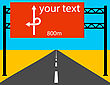 Blank Road Sign On The Road. Vector Illustration