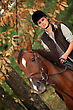 Blond Woman Riding Horse stock photography
