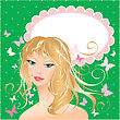 Blonde Girl Beautyful Face - Portrait On Polka Dot Green Background With Butterflies And Oval Frame For Your Text