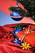 Blue Christmas Decoration And Gift On Multicoloured Background