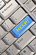 Blue Computer Keyboard Button With Help Word stock image