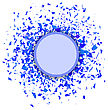 Blue Confetti Round Banner Isolated On White Background. Set Of Particles