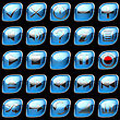 Blue Control Panel Icons Or Buttons Isolated On Black