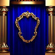 Blue Curtains, Gold Columns And Frames Made In 3d
