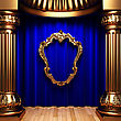 Blue Curtains, Gold Columns And Frames Made In 3d stock illustration