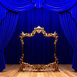 Blue Curtains, Gold Frame Made In 3d stock illustration