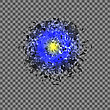 Blue Explosion Cloud Of Grey Pieces On Checkered Background. Sharp Particles Randomly Fly In The Air